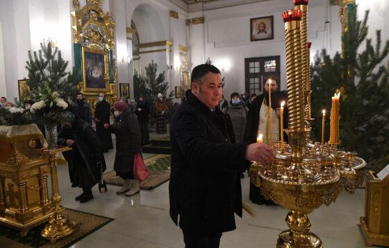 Губернатор Тверской области встретил Крещение в Нило-Столобенской пустыни