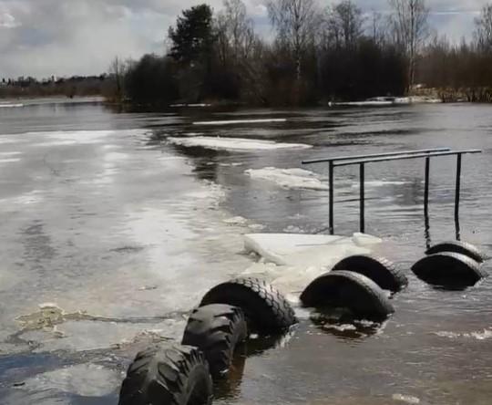 Опубликовано видео, как многотонные льдины бьют о берег Мологи в Тверской области