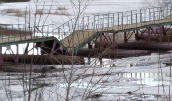 В Тверской области   после сброса воды просел  мост