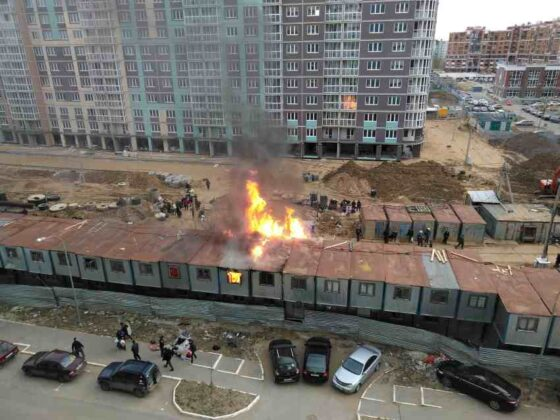 На стройке в Твери вспыхнул пожар