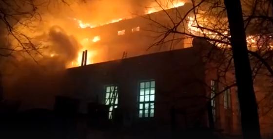 Опубликовано видео ночного пожара в ДОКе в Тверской области