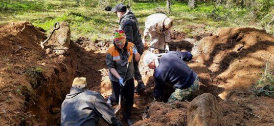 С помощью лесовоза из ямы в Тверской области подняли останки красноармейцев