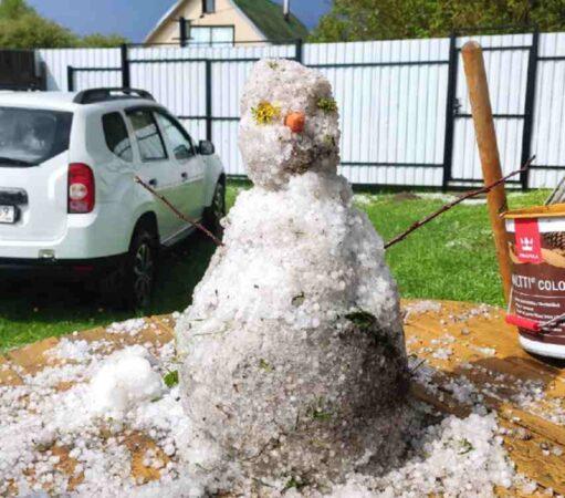 Жители Тверской области слепили снеговиков в середине мая