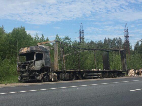 Опубликовано видео, как ночью в Тверской области сгорела фура