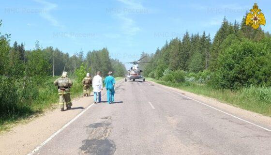 Разбившегося в Максатихинском районе мужчину доставили на вертолете в Тверь