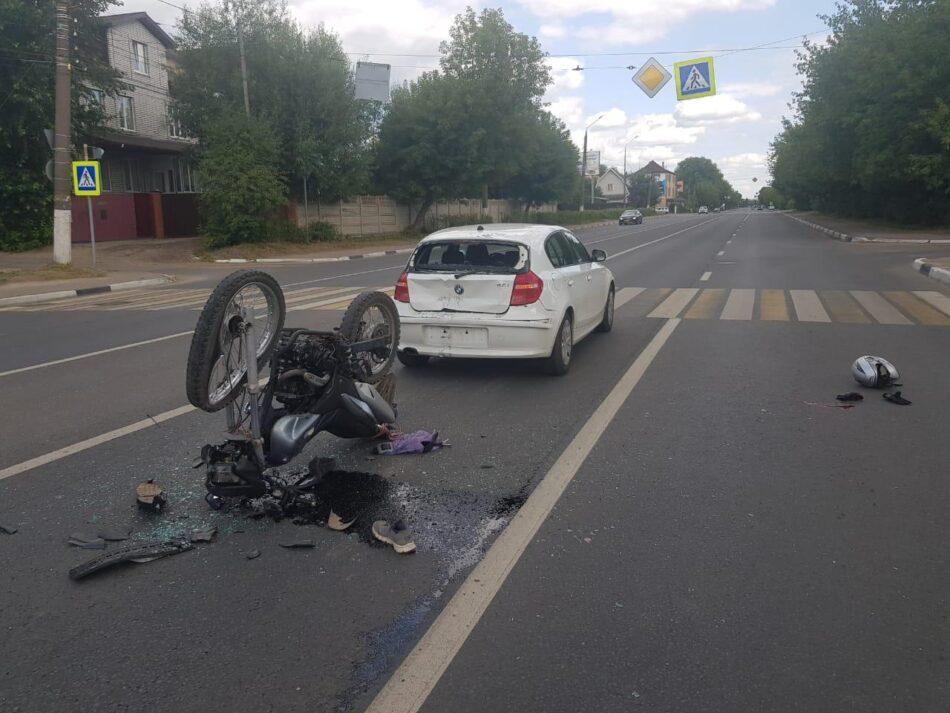 В Твери пьяный  мотоциклист столкнулся с БМВ
