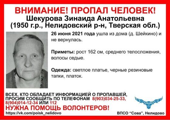В Тверской области больше двух недель ищут 70-летнюю женщину